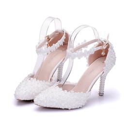 Hermosas flores de tacones altos online-Zapatos elegantes del dedo del pie  nuevos del verano 620f6f5def2a