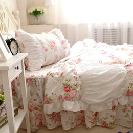 Pink Ruffles Lace Bedding Sets NZ - Pink rose lace ruffle princess bedding sets,girl cotton twin full queen king,pastoral home textile coverlets pillow duvet cover
