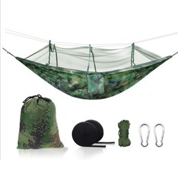 Camping & Hiking Cheap Price 230*120cm Sleeping Hammock Portable Camouflage High Strength Parachute Nylon Camping Mosquito Hammock With Mosquito Nets