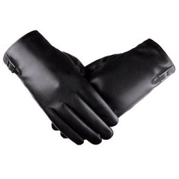 Leather Gloves For Men UK - Men's Windproof Waterproof Bicycle Leather Slip Plus Velvet Thickening Gloves NEW asual Gloves Mittens for Men Women Winter NEW