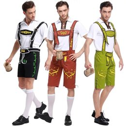 Plus Size Cosplay Outfits Australia - Adult Men Bavarian Exotic Costume Oktoberfest Romper Lederhosen Carnival Beer Festival Cosplay Funny Outfit Shorts XL Plus Size