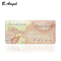 Pvc Long Zipper Canada - New hot white world map PVC retro wallet brand design buckle new ladies leather wallet ladies card holder long wallet