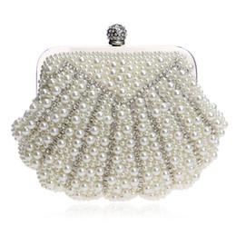 $enCountryForm.capitalKeyWord Canada - Luxurious Beaded Shell Shaped Handmade Wedding Pearl Handbags Rhinestones Purse Evening Bags Diamonds Clutches