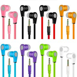 Iphone noodle wIre online shopping - Universal Earphone Stereo Headphones Earbuds No mic Flat noodle Earphones handsfree for iphone samsung android phone mp3