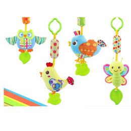 Discount butterfly wind chimes - Wholesale- 1pc Baby Rattles With Teether Baby Toys Bird Butterfly Owl Chick Animals Dolls Stroller Crib Hanging Wind Chi