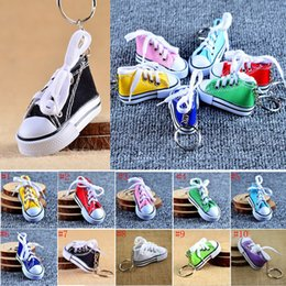 Discount shoes favors - 10 Color MiniC 3D Sneaker Keychain Canvas Shoes Key Ring Tennis Shoe Chucks Keychain Party Favors Gift