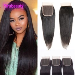 Discount straight hair middle closures - Brazilian Virgin Hair Straight Hair 4 X 4 Lace Closure Free Middle Three Part Straight Hair Lace Closure 8-26inch