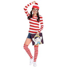 costume cosplay top white NZ - Classic Cartoon Role Costume Where's Wally Cosplay Uniform Red and White Stripes Fancy Dress Autumn Tops with Hat