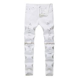 Wholesale dance jeans resale online – designer Fashion spring autumn Distressed Denim white color knee Zipper locomotive Biker dance pantalon homme jeans men hombre