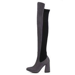 $enCountryForm.capitalKeyWord UK - Fashion Womens Ladies Patchwork Zip Thigh-High Boots Shoes Sexy Over The Knee Boots FS-B808 Chunky Heel Size Customized By Favoshoes