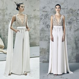 China Special Design Elie Saab Jumpsuit Prom Dresses Sheer Sequins Beaded V Neck Formal Evening Gowns with Wrap Saudi Style Reception Dress cheap dressing styles jumpsuits suppliers