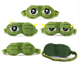 Chinese  Funny Creative Pepe the Frog Sad Frog 3D Eye Mask Cover Cartoon Plush Sleeping Mask Cute Anime Gift manufacturers