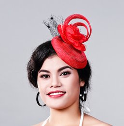 elegant Ladies Occasion Cocktail Event Race fascinator women linen red hats  wedding party hair accessories Sinamay Fascinators d7a402191470