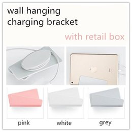cell phone charger package 2019 - 2018 Mobile Phone Wall Charger Hanging Holder Stand Adhesive Bracket Support Charge Hanger Rack Shelf Cell Phone Hook wi