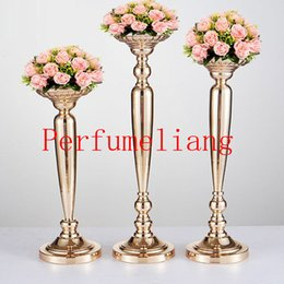 Discount flower for pillar - 44cm 50cm 57cm Metal Gold Candle Holders Road Lead Table Centerpiece Stand Pillar Candlestick For Wedding Candelabra Flo
