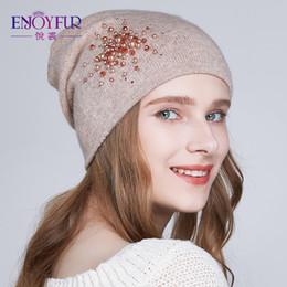 d4a7ad5a4bf Angora Hats NZ - ENJOYFUR Angora Rabbit knitted Winter Hats For Women Sun  Flower Rhinestones Female
