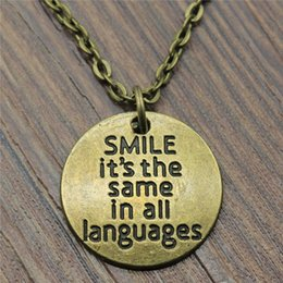 Discount supplier jewelry - 30pcs lot 20x20mm Smile It'S The Same In All Languages Necklace Jewelry Gift For Women Wholesale Jewelry Supplier