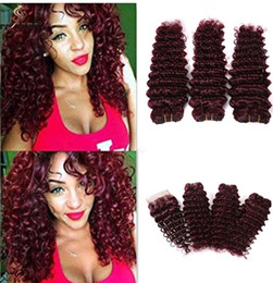 brazilian virgin curly hair weave closure Australia - Brazilian virgin human hair bundles burgundy bundles 14 14 14inch with 12inch closure wine red deep curly lace weave closure hair extension