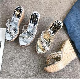$enCountryForm.capitalKeyWord Australia - Glitter PVC crystal wedges designer slippers high heel platform shoes silver gold sandals summer size 34 to 39