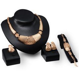 Set Gold 18k Dubai Australia - Dubai 18K Gold Pendant Stripe Necklace Sets Fashion African tripe Wedding Bridal Jewelry Sets (Necklace + Bracelet + Earrings +Ring)