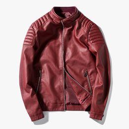 Mens sheepskin leather jacket online shopping - 2018 Men s leather Jacket design stand collar Coat Men casual motorcycle leather coat Mens Sheepskin jackets Windbreaker Coats
