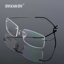 acde32a6d59c Lightweight Rimless Glasses Frame Memory Titanium Alloy Eyeglasses Women Men  square Myopia Optical Glasses Frames Brand s863