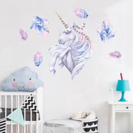 $enCountryForm.capitalKeyWord NZ - Magical DIY Cartoon Unicorn Art Wall Sticker with Sparking Crystals Nursery Kids Room Decoration Birthday Unicorn Party Home Wall Decor Gift
