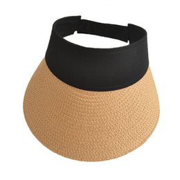 2018 New Simple Women Summer Straw Sun Hats Pearl Packable Sun Visor Hat  with big heads Wide Brim UV Protection female cap 168f3eb53717