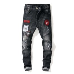 hip hop style ripped jeans NZ - Fashion Vintage Men's Ripped Jeans Hip Hop Pants Slim Streetwear Destroyed Print Hole Casual Male Trousers Plus Size fear of god 29-38