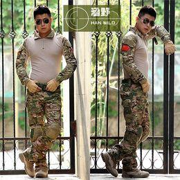 camouflage combat suit 2018 - Tactical Camouflage Uniform Clothes Suit Men US Army Multicam Hunting Militar Combat Shirt + Cargo Pants Knee Pads disco