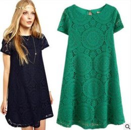 Chinese  2018 summer womens dress Large Size Loose Short Sleeve Hollow Lace Base Skirt Plus clothing 4xl casual basic style manufacturers
