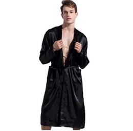 cc7495125f 1844Brand Long Robe Emulation Silk Soft Home Bathrobe Plus Size S-XXL  Nightgown For Men Kimono Robes Autunm Spring Winter