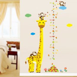 Design Glasses For Kids Australia - Free shipping Cartoon Measure Wall Stickers For Kids Rooms Giraffe Monkey Height Chart Ruler Decals Nursery Home Decor