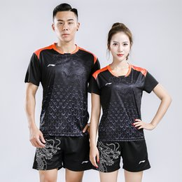 China Li Ning 2018 men and women badminton sportwear t-shirt,Chinese dragon suit,lining badminton suits shirts + shorts,table tennis jersey cheap blue chinese table suppliers