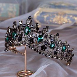 Handmade Luxury Baroque Bridal Crown Tiara Black Dark Green Crystal Headpieces Evening Hair Accessories For Brides Gothic Bridal on Sale
