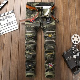 Army cAmouflAge clothing online shopping - Mans Stitching Camouflage Fashion Men Clothing Jeans Hip Hop Patchwork Knee Zipper Full Length Pencil Pant