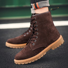 e72781903b1 2018 New Trend Martin Boots For Men Brown Yellow Youth Casual Boots High  Top Male Outdoor Rubber Sole Fashion Shoes Men