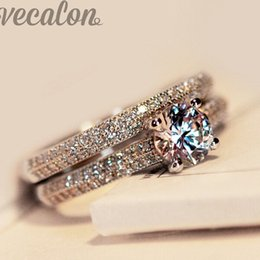 engagement ring finger for female 2019 - Vecalon fashion ring wedding band ring set for women 1ct 5A Zircon cz 925 Sterling Silver Female Engagement Finger cheap