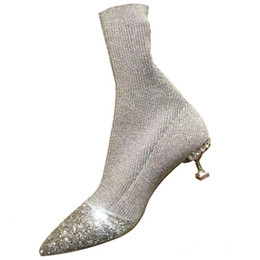 $enCountryForm.capitalKeyWord NZ - Bling-bling Pointy Silver Glitter Knitted Ankle Boots Slim Fit Fashion Sock Style Short Boots Fashion Autumn High Heel Shoes Women
