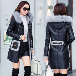 Discount trench coat lady long - Faux Sheepskin Coat 2018 Fashion New Autumn Winter Leather Jacket Women Thick Warm Long Trench Coat Hooded Ladies Parka