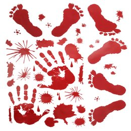 cling window stickers UK - Halloween Wall Stickers Bloody Handprint Footprint Horror Window Clings Decals Vampire Zombie Party Handprint Decals Decorations