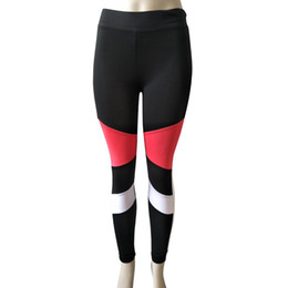 Chinese  Women's Fitness Sports Gym Running Yoga Athletic Pants Leggings Women's Stitching Solid Contrast Color Yoga Pants Leggings manufacturers