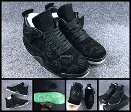 4619baffe133 KAWS 4 IV Cool Black Glow In the Dark Mens Basketball Shoes 4s Suede Basket  ball Sports Sneakers Shoes Size US 8-13