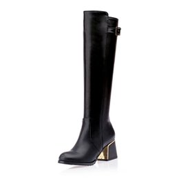 burgundy square toe boots 2019 - New Arrival Fashion Buckle Strap Deocration Round Toe Square Heels Knee High Boots For Woman Shoes Woman 30-49 cheap bur