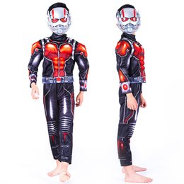 Wholesale ants costumes for sale – halloween Boys Halloween Ant Man muscle style Cosplay suits New Kids Avengers Superhero costume cosplay clothes mask sets B001