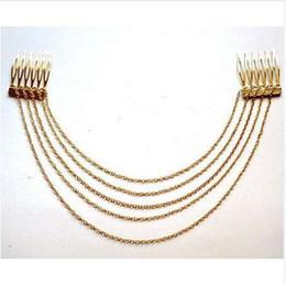 Tassel headband hair online shopping - Fashion Punk Hair Cuff Pin Clip Combs Tassels Chains Headband Silver Gold Wedding Accessories Hair Jewelry JWD131