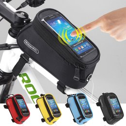 "bicycle panniers front UK - bike bag Roswheel Bicycle Bag Touchscreen Bike Front Frame Bags Holder Pannier Waterproof Cycle 5.5"" Phone Pouch+Extension Line"