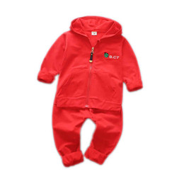 girls hooded tracksuits UK - 2018 Spring Autumn Baby Casual Tracksuit Children Boy Girl Cartoon Hooded Jacket Pants 2Pcs Kids Suit Cotton Clothing Sport Sets