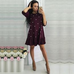 eaa6e912e2e4 2018 Spring Autumn New Style Women Casual Half Sleeve O-neck Beading Ruffle Shift  Dress Mini Straight Dresses vestidos Plus Size shift dress plus deals