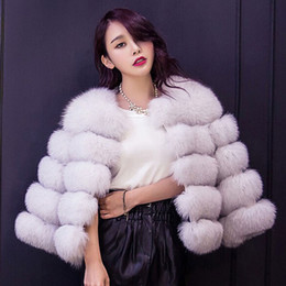 ElEgant whitE wintEr coat fashion online shopping - Hot Sale Fox Fur Coat for Women Winter Plus Size Warm Fur Coat Ladies Short Elegant Fur Overcoats Fashion Female Coat